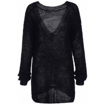 Trendy Long Sleeve Scoop Collar Loose-Fitting Women's Black Sweater - BLACK ONE SIZE(FIT SIZE XS TO M)