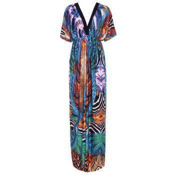 Bohemian Printed V-Neck Short Sleeve Dress For Women