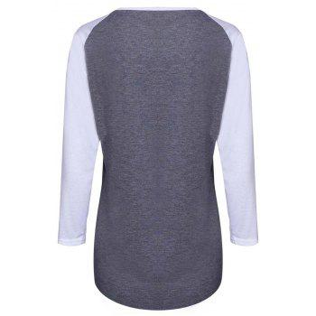 Simple Style 3/4 Sleeve Letter Printed Color Block Baseball T-Shirt For Women - GRAY S