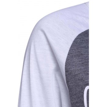 Simple Style 3/4 Sleeve Letter Printed Color Block Baseball T-Shirt For Women - GRAY GRAY