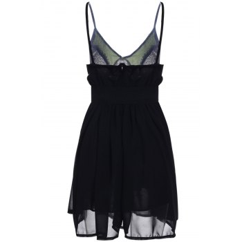 Sexy Style Spaghetti Strap Sleeveless Sequins Embellished Loose Women's Dress - BLACK S