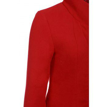 Stylish Stand-Up Collar Long Sleeve Solid Color Flounced Women's Coat - RED 2XL