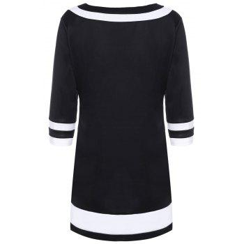 Brief Color Spliced Round Collar 3/4 Sleeve Dress For Women - 2XL 2XL
