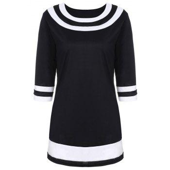 Brief Color Spliced Round Collar 3/4 Sleeve Dress For Women - BLACK 3XL