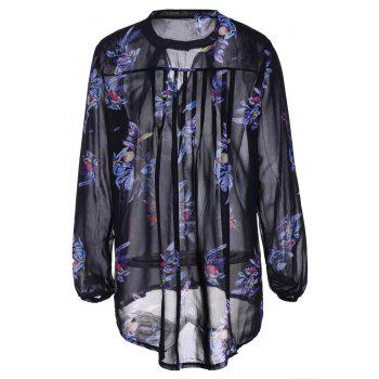Stylish Long Sleeve Keyhole Neck Floral Print Women's Chiffon Blouse - M M