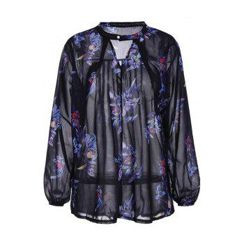 Stylish Long Sleeve Keyhole Neck Floral Print Women's Chiffon Blouse
