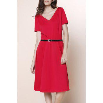 Stunning V-Neck Pure Color High Waist Ball Flare Dress For Women - RED 2XL