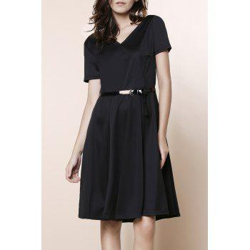 Stunning V-Neck Pure Color High Waist Ball Flare Dress For Women