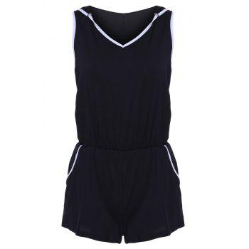 Sports Style Sleeveless Hooded Pocket Design Women's Romper