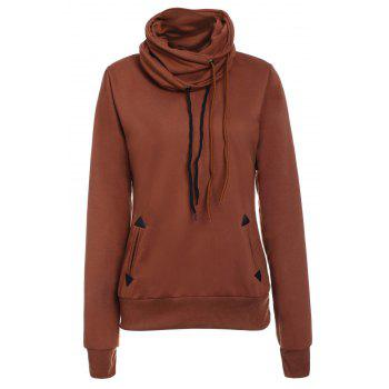 Drawstring Layered Collar Pullover Sweatshirt - BROWN M