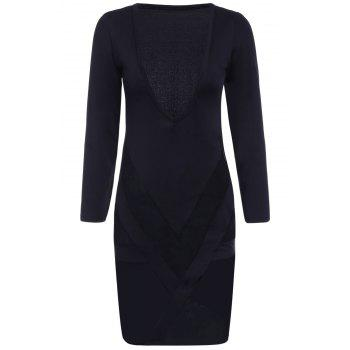 Sexy Plunging Neck Long Sleeves Bodycon See-Through Women's Dress