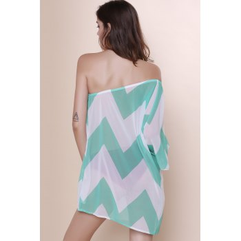 Attractive One-Shoulder Chevron Printed 3/4 Sleeve Chiffon Dress For Women - BLUE BLUE