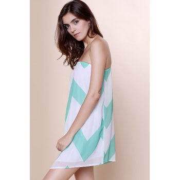 Attractive One-Shoulder Chevron Printed 3/4 Sleeve Chiffon Dress For Women - XL XL