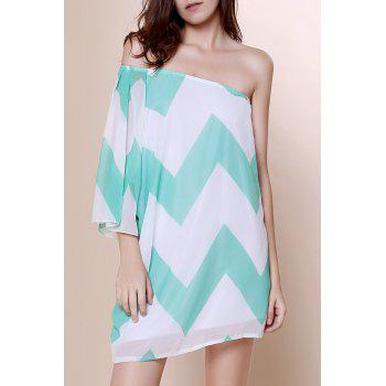Attractive One-Shoulder Chevron Printed 3/4 Sleeve Chiffon Dress For Women
