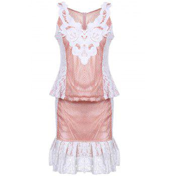 Sleeveless V-Neck Lace Dress For Women