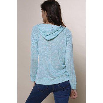 Trendy Long Sleeve Hooded Pocket Design Women's Hoodie - MINT GREEN L
