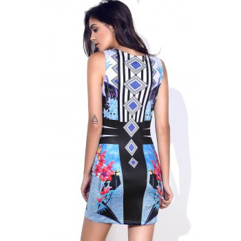 Stylish Round Neck Full Print Sleeveless Women's Bodycon Dress - S S
