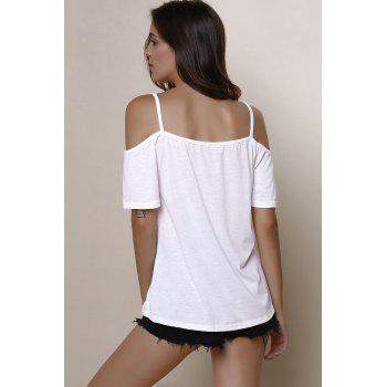 Sexy Solid Color Spaghetti Strap Short Sleeve T-Shirt For Women - WHITE M