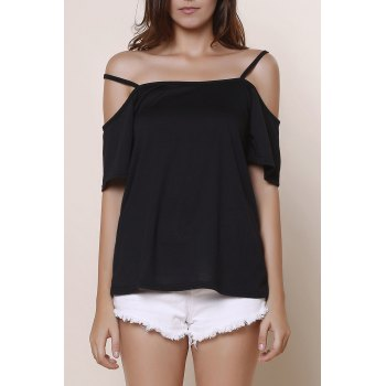 Sexy Solid Color Spaghetti Strap Short Sleeve T-Shirt For Women