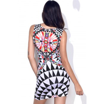 Stylish Round Neck Geometric Pattern Sleeveless Women's Bodycon Dress - COLORMIX COLORMIX
