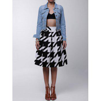 Vintage High-Waisted Ruffled Houndstooth Women's Midi Skirt
