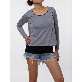 Stylish Faux Twinset Design Scoop Neck Long Sleeve T-Shirt For Women - S S