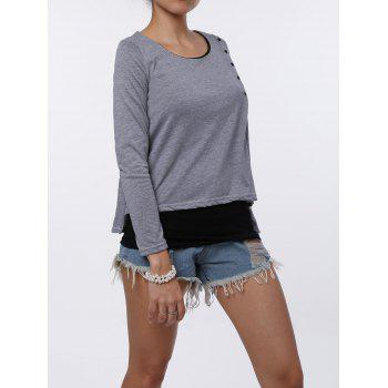 Stylish Faux Twinset Design Scoop Neck Long Sleeve T-Shirt For Women - M M