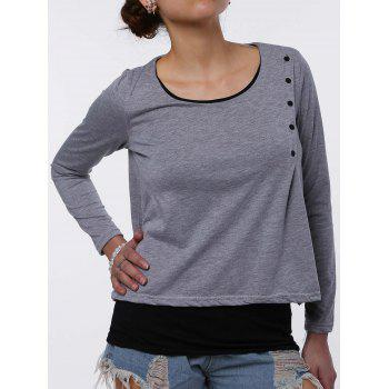 Stylish Faux Twinset Design Scoop Neck Long Sleeve T-Shirt For Women - LIGHT GRAY 2XL