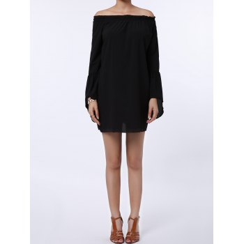 Sexy Off The Shoulder Solid Color Flared Sleeve Dress For Women