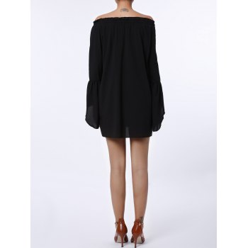 Sexy Off The Shoulder Solid Color Flared Sleeve Dress For Women - BLACK BLACK