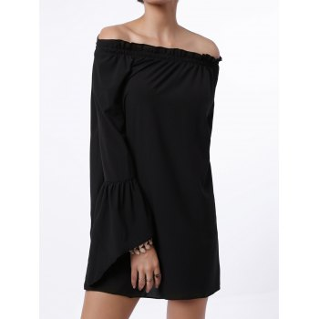 Sexy Off The Shoulder Solid Color Flared Sleeve Dress For Women - S S