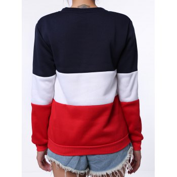 Preppy Style Color Block Round Neck Letter Print Long Sleeve Flocking Sweatshirt For Women - BLUE/WHITE ONE SIZE(FIT SIZE XS TO M)