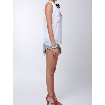 Stylish Women's Solid Color Off-The-Shoulder Bowknot Blouse - WHITE ONE SIZE(FIT SIZE XS TO M)