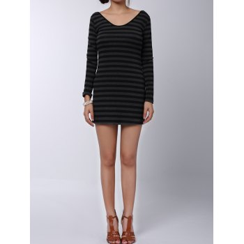 Stylish Women's V-Neck Long Sleeves Striped Long Sweater