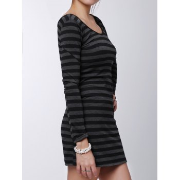 Stylish Women's V-Neck Long Sleeves Striped Long Sweater - GRAY ONE SIZE(FIT SIZE XS TO M)