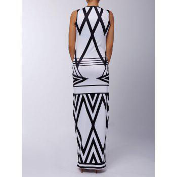 Sexy Sleeveless Scoop Neck Printed Women's Maxi Dress - WHITE/BLACK S