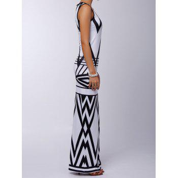 Sexy Sleeveless Scoop Neck Printed Women's Maxi Dress - WHITE/BLACK XL