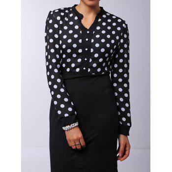Polka Dot V-Neck High-Waisted Long Sleeve Dress - BLACK S