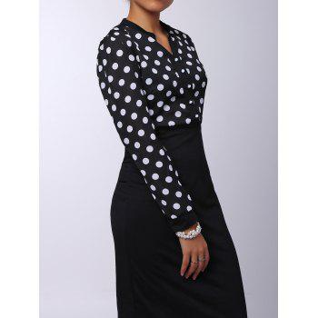 Polka Dot V-Neck High-Waisted Long Sleeve Dress - BLACK L