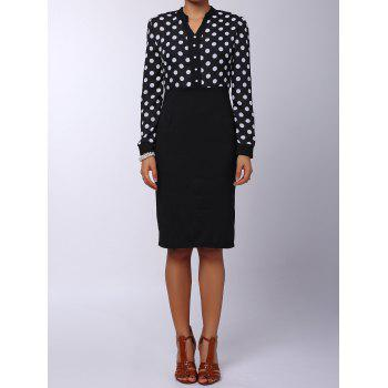 V Neck Polka Dot Splicing High Waisted Long Sleeve Dress For Women