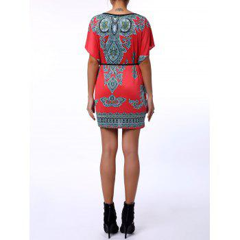 Scoop Neck Print Color Block Ethnic Style Short Sleeve T-Shirt For Women - L L