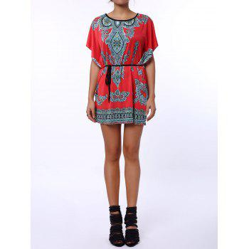 Scoop Neck Print Color Block Ethnic Style Short Sleeve T-Shirt For Women - RED RED