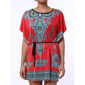 Scoop Neck Print Color Block Ethnic Style Short Sleeve T-Shirt For Women - RED XL
