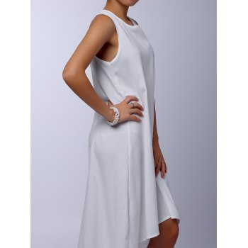 Stylish Round Collar Sleeveless Asymmetrical Solid Color Women's Dress - WHITE S