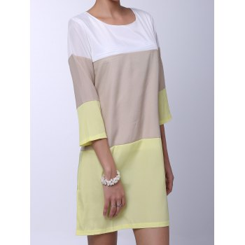 Round Neck 3/4 Sleeve Loose-Fitting Color Block Women's Dress - YELLOW XL