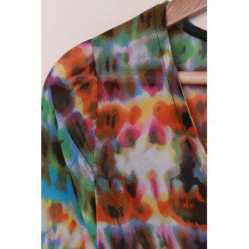 Bohemian V-Neck 3/4 Sleeve Printed Button Design Women's Cover Up - AS THE PICTURE ONE SIZE(FIT SIZE XS TO M)