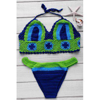 Chic Halter Color Block Braid Women's Bikini Set - BRIGHT GREEN ONE SIZE(FIT SIZE XS TO M)