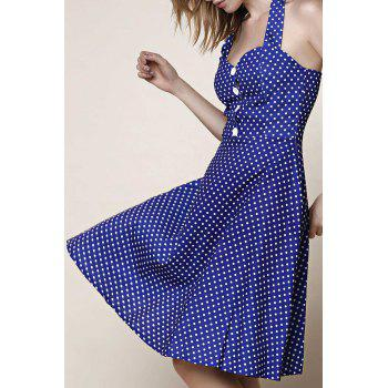 Vintage Halter Polka Dot Print Pleated Ball Gown Dress For Women