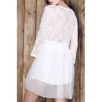 Stylish Women's Plunging Neck 3/4 Sleeve Lace Splicing Plus Size Dress