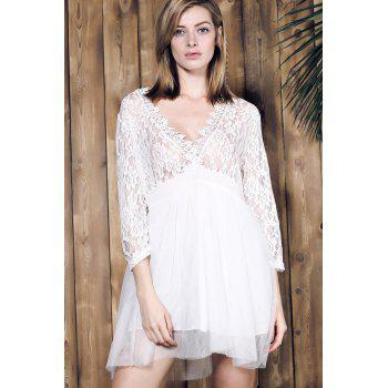 Stylish Women's Plunging Neck 3/4 Sleeve Lace Splicing Plus Size Dress - WHITE XL